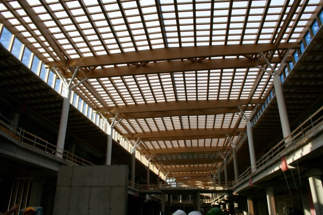 Glulam ceiling showing polycarbonate sheeting